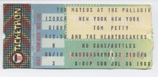 Tom Petty tix 1980